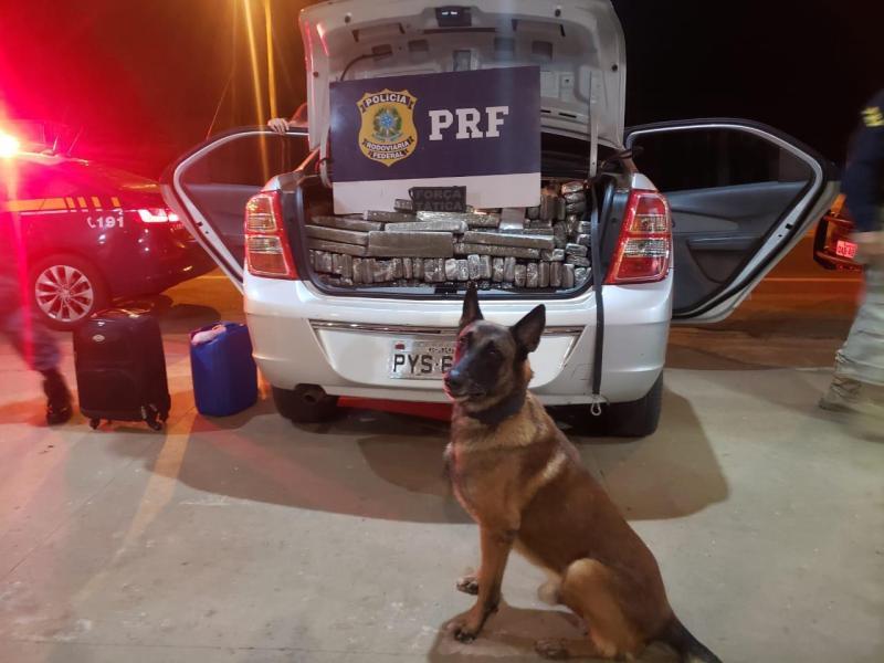 PRF e PM apreendem 510 Kg de maconha, recuperam veículo e prendem batedor