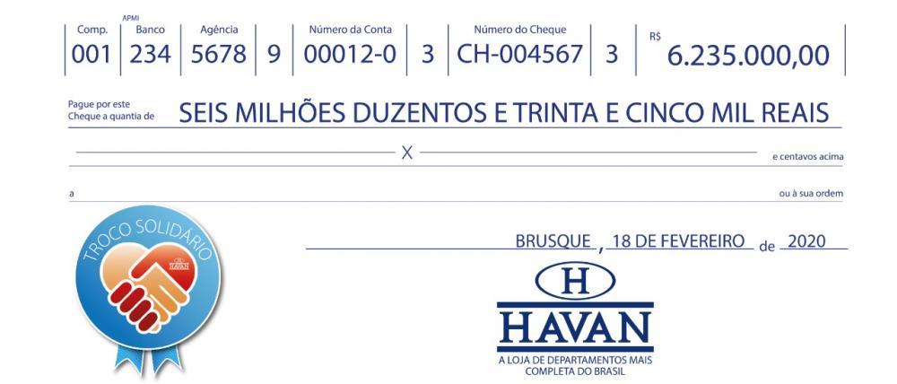 Este foi o valor arrecadado no segundo semestre de 2019 em todas as filiais da rede Havan