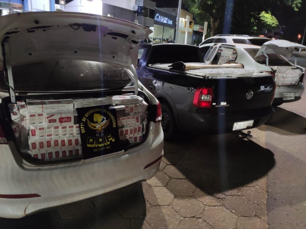 DOF apreende três veículos carregados com cigarros do Paraguai em Antônio João