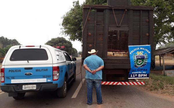 PM apreende caminhão boiadeiro com 2,5 toneladas de maconha